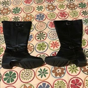 Clark's 9.5W Black Wide Calf Leather Boots